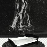 Négy nap várakozás, 2012-13, vegyes technika, fényvisszaverő reflexfólia, jelzőtábla