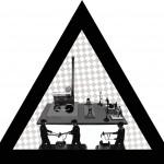 Gyászmunkások, 2013, vegyes technika, fényvisszaverő reflexfólia, jelzőtábla
