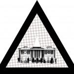ITT-OTT, 2013, vegyes technika, fényvisszaverő reflexfólia, jelzőtábla