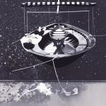 Lélekhajó, 2012, vegyes technika, fényvisszaverő reflexfólia, jelzőtábla